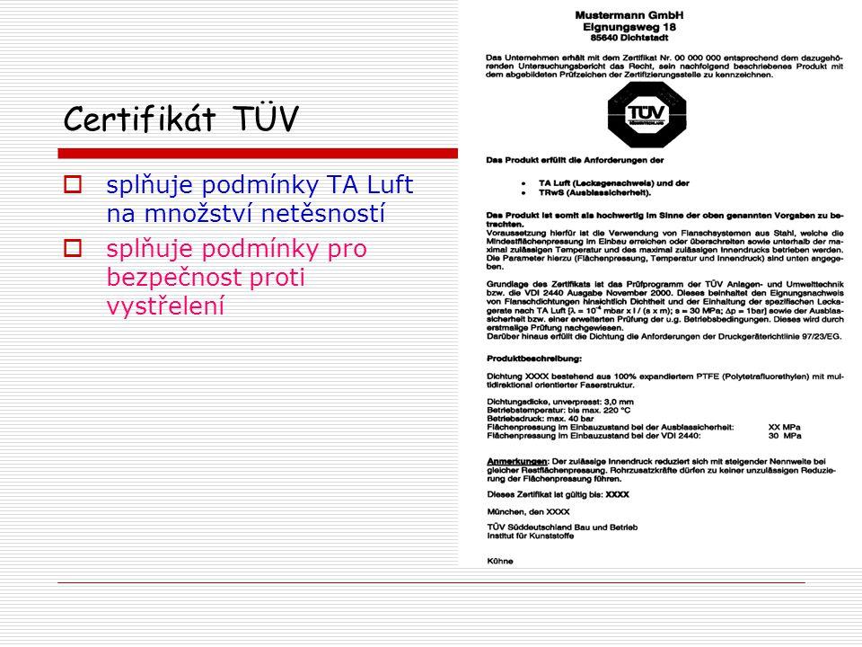 Certifikát TÜV splňuje podmínky TA Luft na množství netěsností