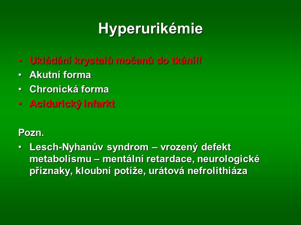 Hyperurikémie Ukládání krystalů močanů do tkání!! Akutní forma