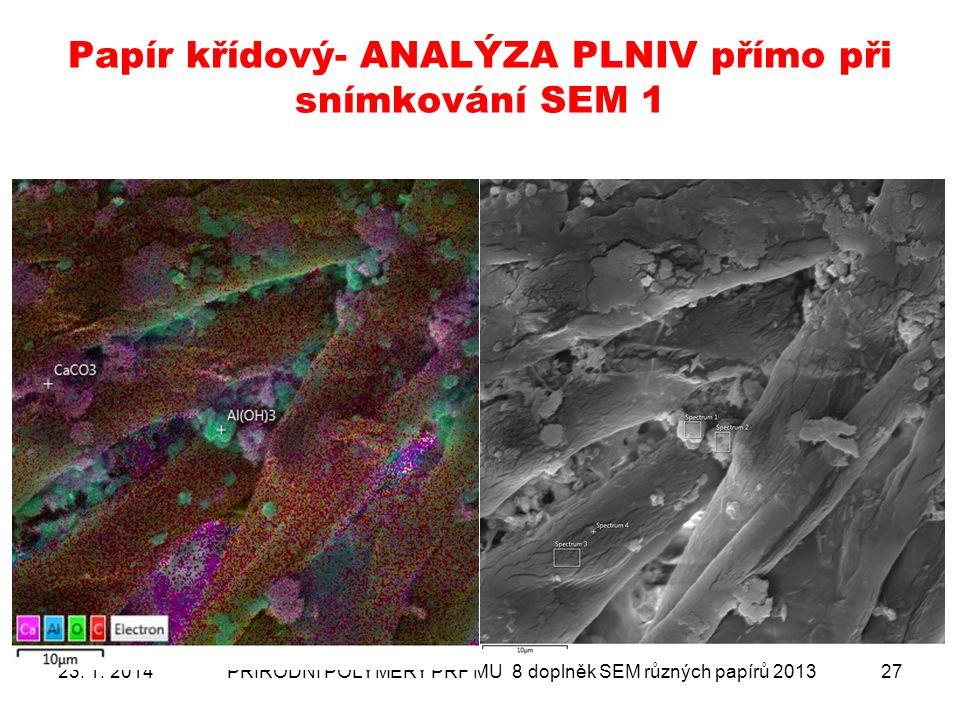 Papír křídový- ANALÝZA PLNIV přímo při snímkování SEM 1