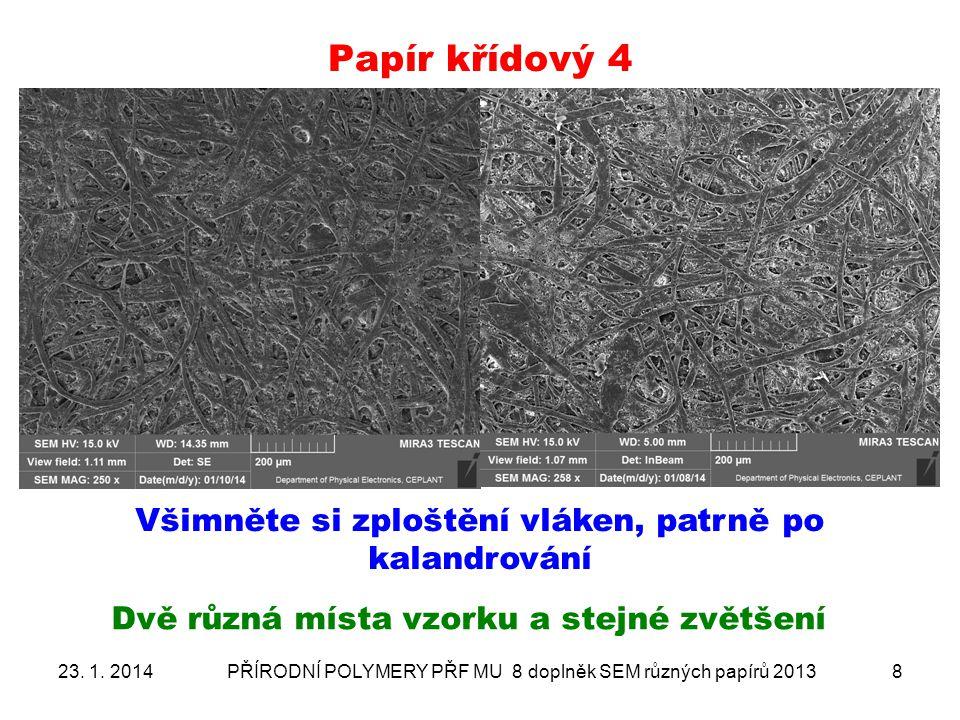 Papír křídový 4 Všimněte si zploštění vláken, patrně po kalandrování