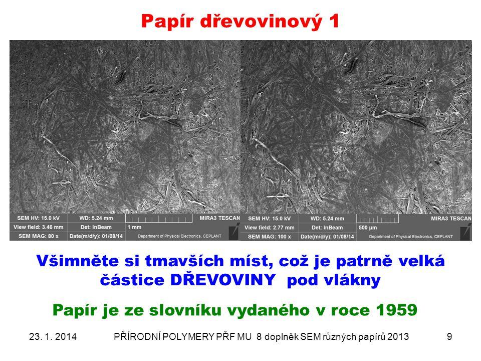 Papír dřevovinový 1 Všimněte si tmavších míst, což je patrně velká částice DŘEVOVINY pod vlákny. Papír je ze slovníku vydaného v roce 1959.