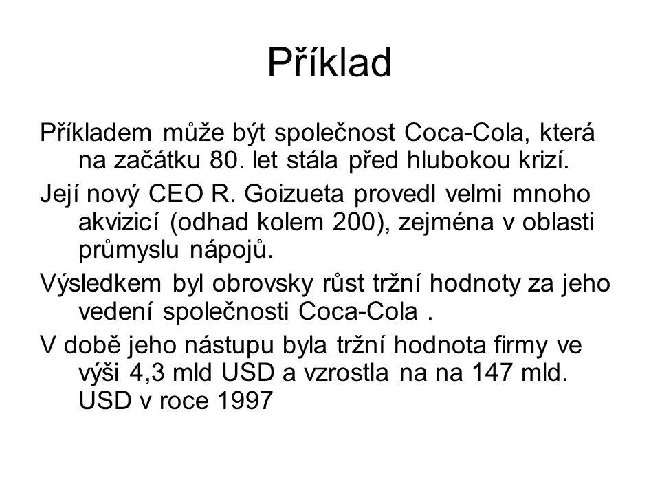 Příklad Příkladem může být společnost Coca-Cola, která na začátku 80. let stála před hlubokou krizí.
