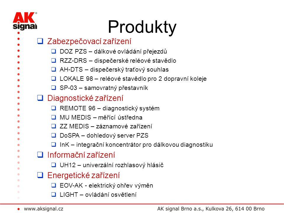 Produkty Zabezpečovací zařízení Diagnostické zařízení