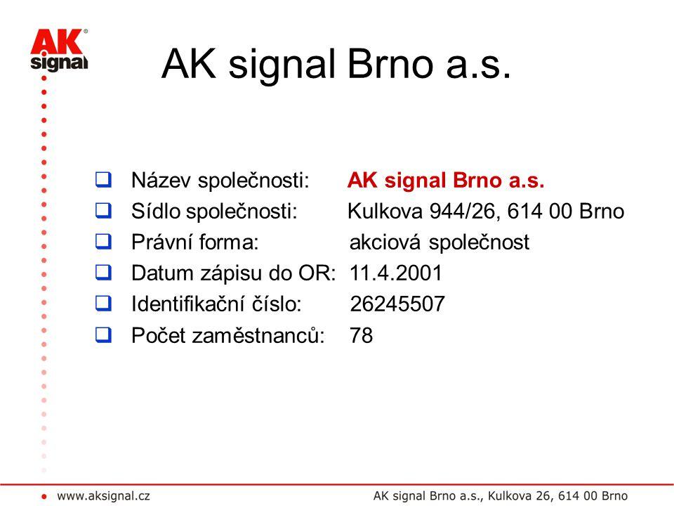 AK signal Brno a.s. Název společnosti: AK signal Brno a.s.