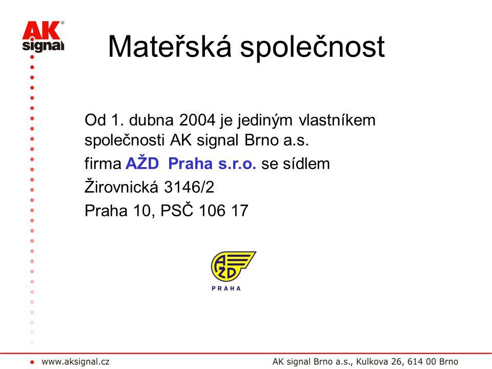 Mateřská společnost Od 1. dubna 2004 je jediným vlastníkem společnosti AK signal Brno a.s. firma AŽD Praha s.r.o. se sídlem.
