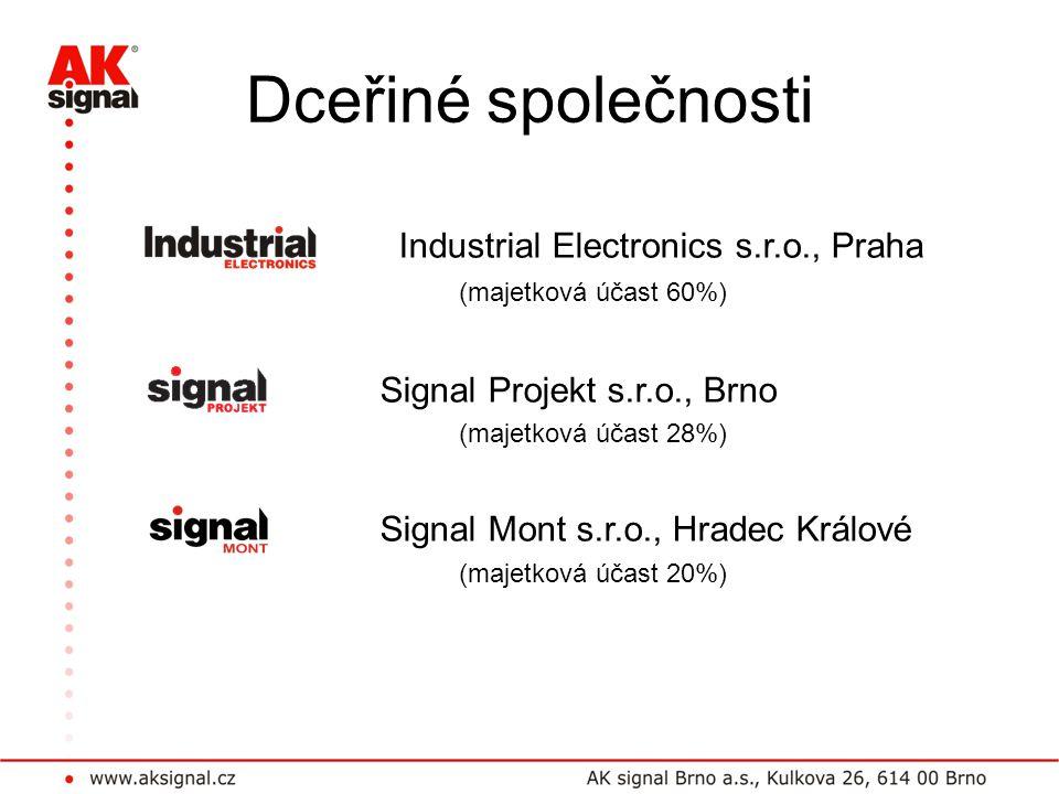 Dceřiné společnosti Industrial Electronics s.r.o., Praha (majetková účast 60%) Signal Projekt s.r.o., Brno.