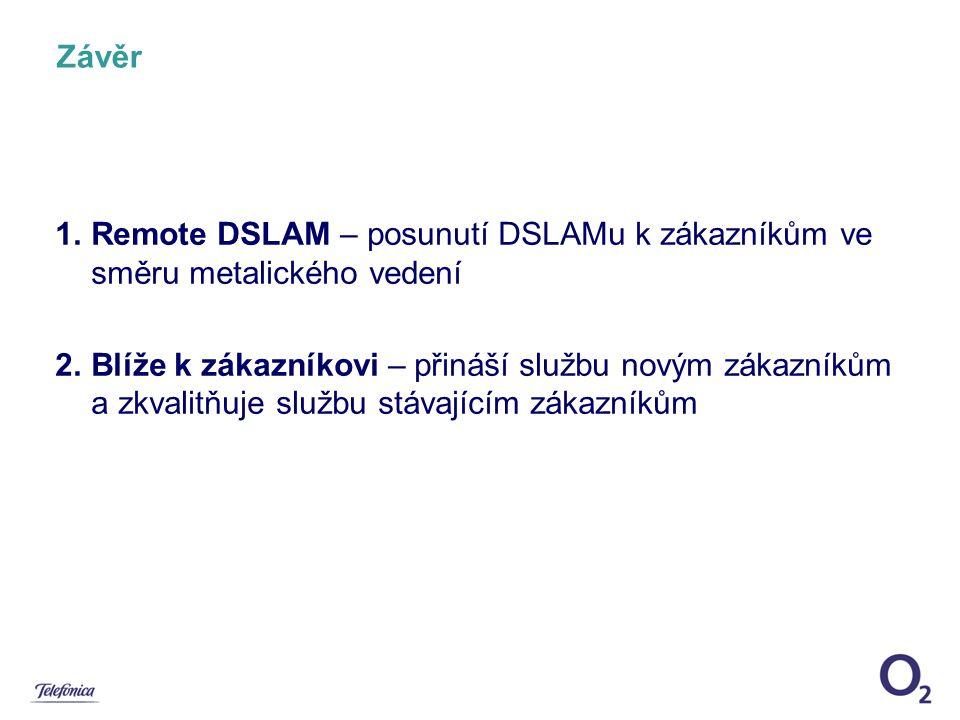 Závěr Remote DSLAM – posunutí DSLAMu k zákazníkům ve směru metalického vedení.