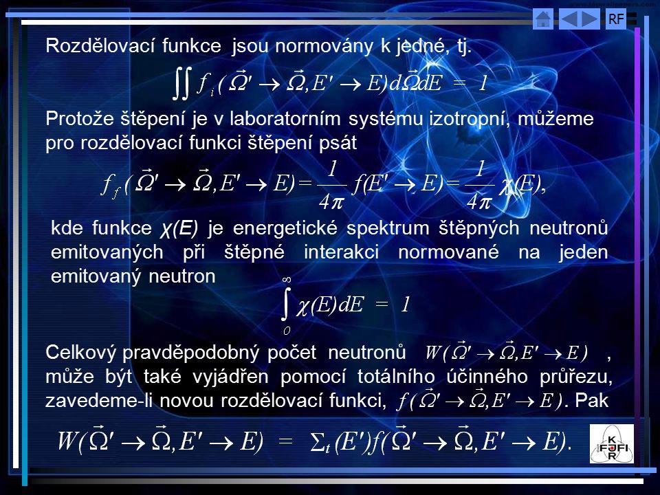 Rozdělovací funkce jsou normovány k jedné, tj.