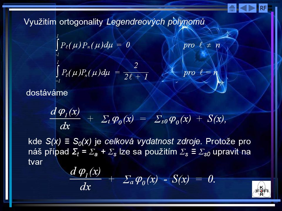 Využitím ortogonality Legendreových polynomů