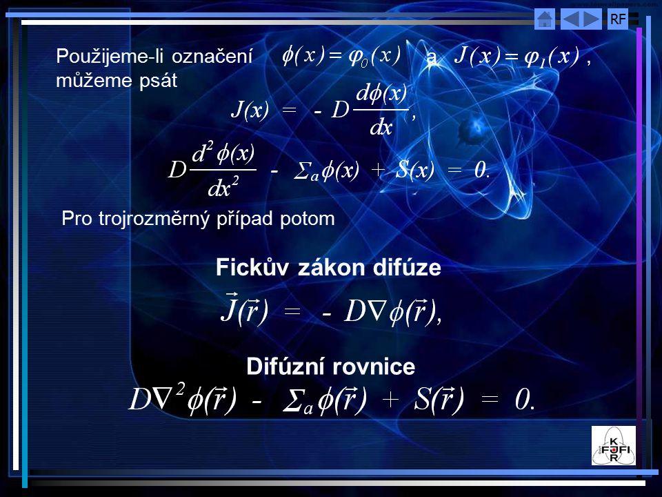 Fickův zákon difúze Difúzní rovnice