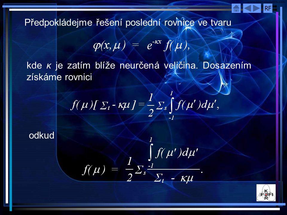 Předpokládejme řešení poslední rovnice ve tvaru