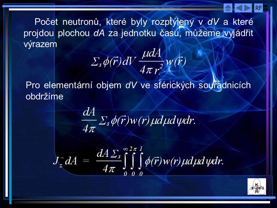 Počet neutronů, které byly rozptýleny v dV a které projdou plochou dA za jednotku času, můžeme vyjádřit výrazem