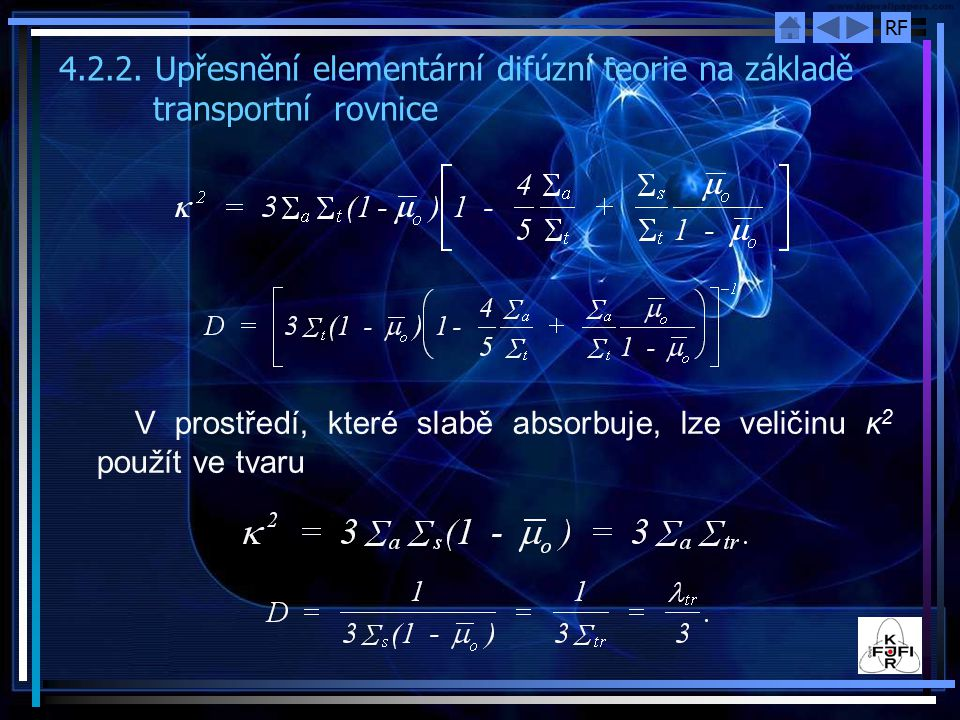 4. 2. 2. Upřesnění elementární difúzní teorie na základě