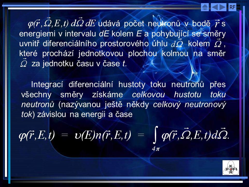 udává počet neutronů v bodě s energiemi v intervalu dE kolem E a pohybující se směry uvnitř diferenciálního prostorového úhlu kolem , které prochází jednotkovou plochou kolmou na směr za jednotku času v čase t.