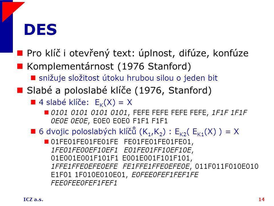 DES Pro klíč i otevřený text: úplnost, difúze, konfúze