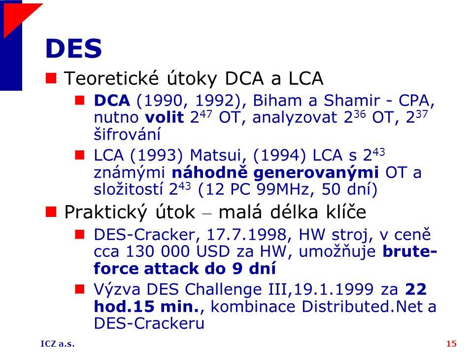 DES Teoretické útoky DCA a LCA Praktický útok – malá délka klíče