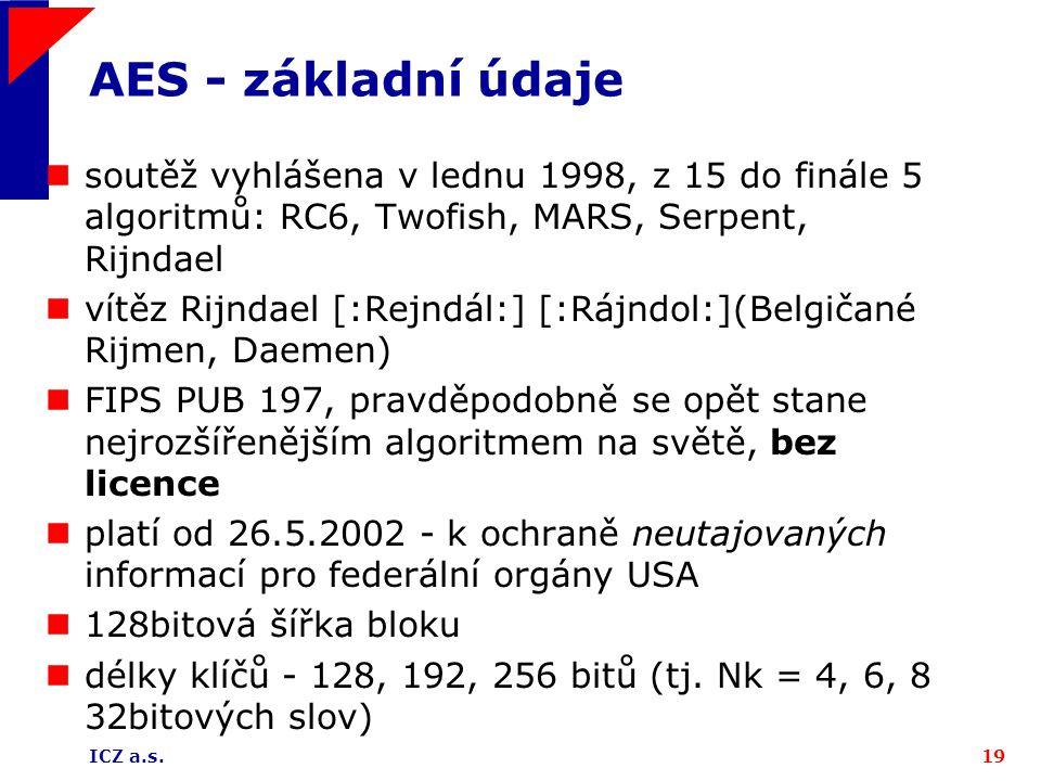 AES - základní údaje soutěž vyhlášena v lednu 1998, z 15 do finále 5 algoritmů: RC6, Twofish, MARS, Serpent, Rijndael.