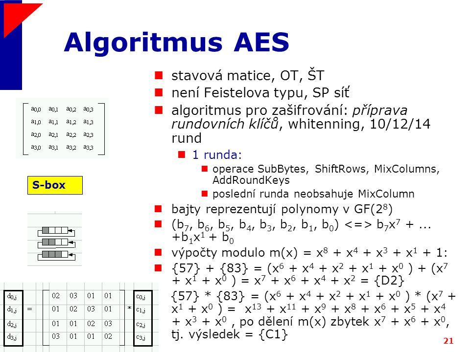 Algoritmus AES stavová matice, OT, ŠT není Feistelova typu, SP síť
