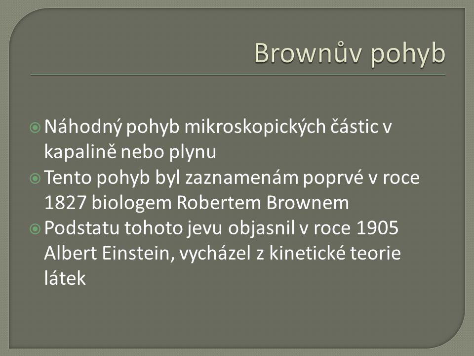 Brownův pohyb Náhodný pohyb mikroskopických částic v kapalině nebo plynu. Tento pohyb byl zaznamenám poprvé v roce 1827 biologem Robertem Brownem.