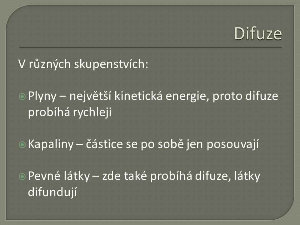Difuze V různých skupenstvích: