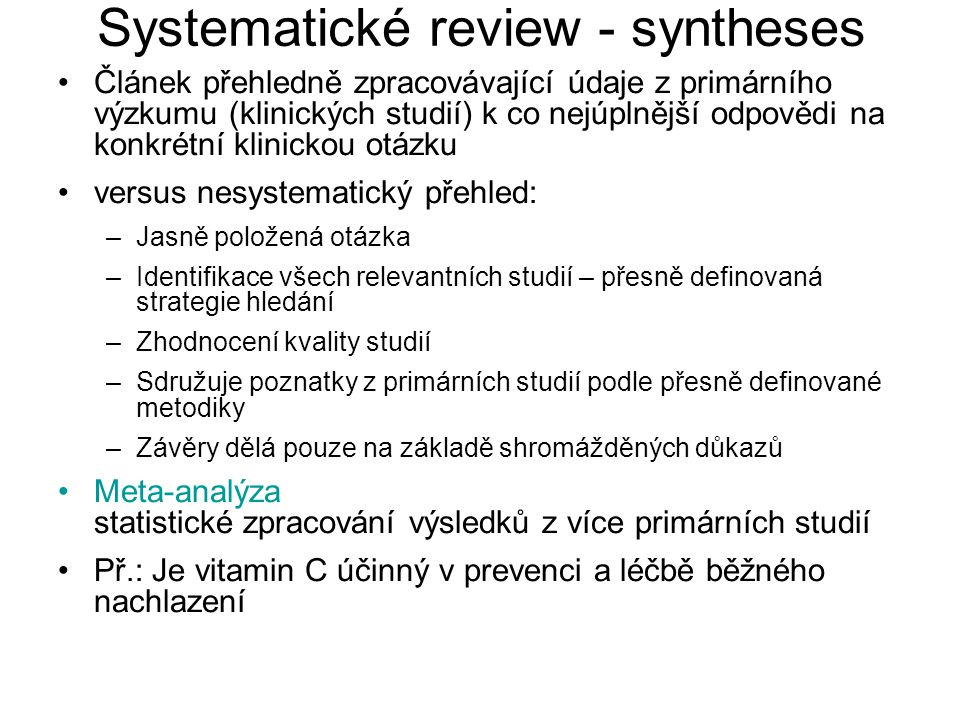 Systematické review - syntheses