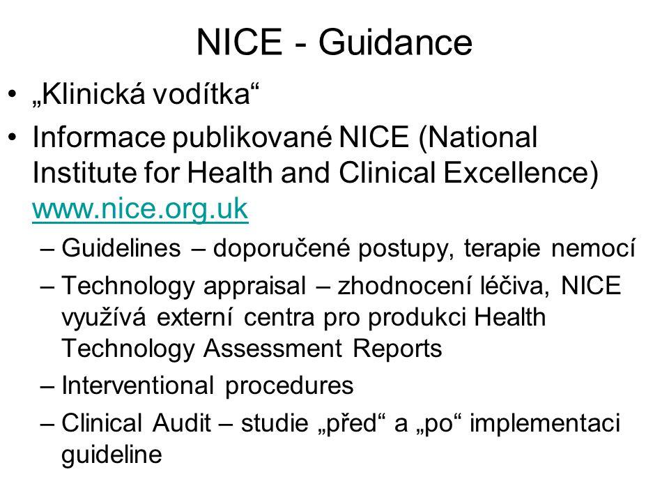 """NICE - Guidance """"Klinická vodítka"""
