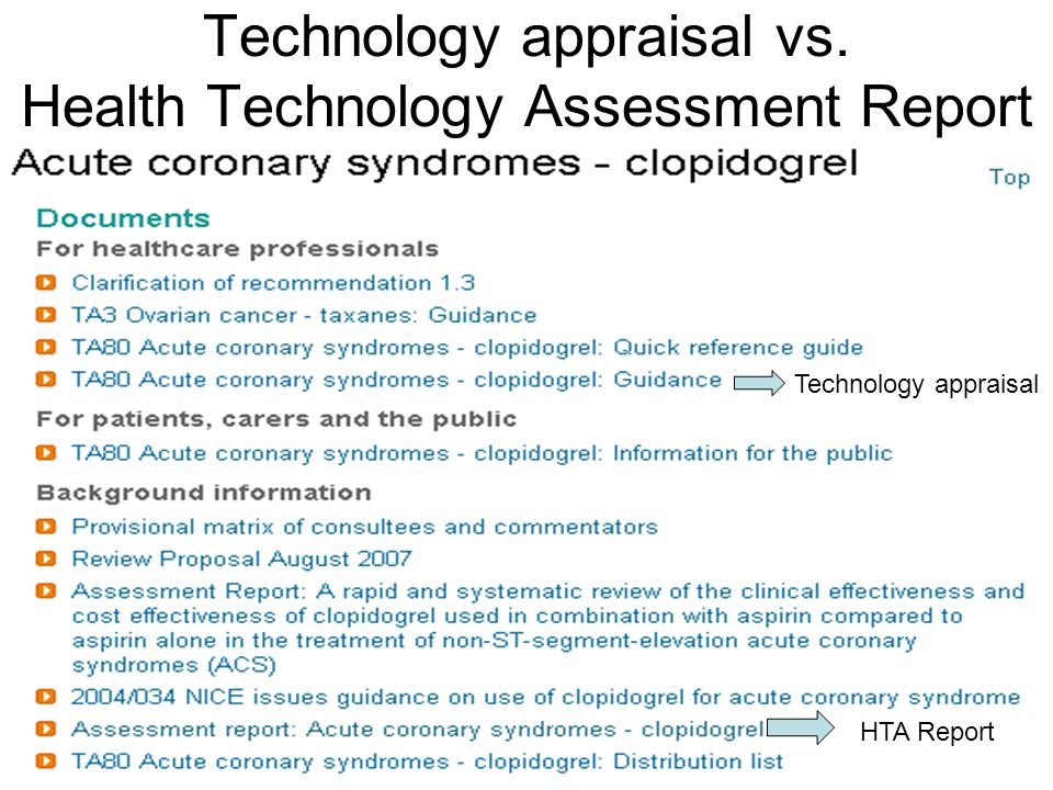 Technology appraisal vs. Health Technology Assessment Report