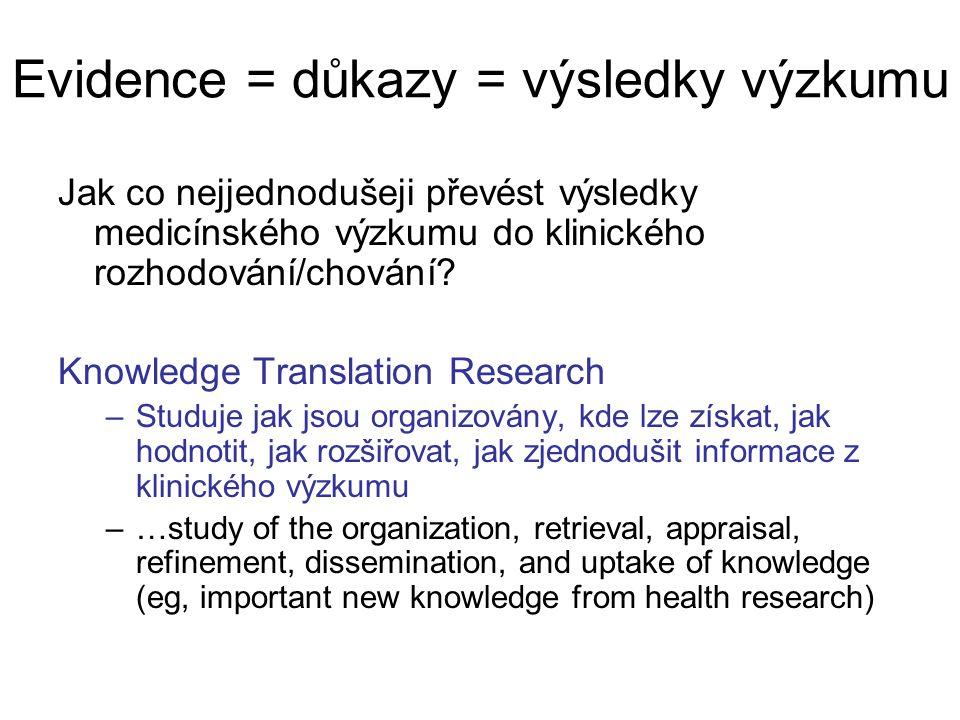Evidence = důkazy = výsledky výzkumu