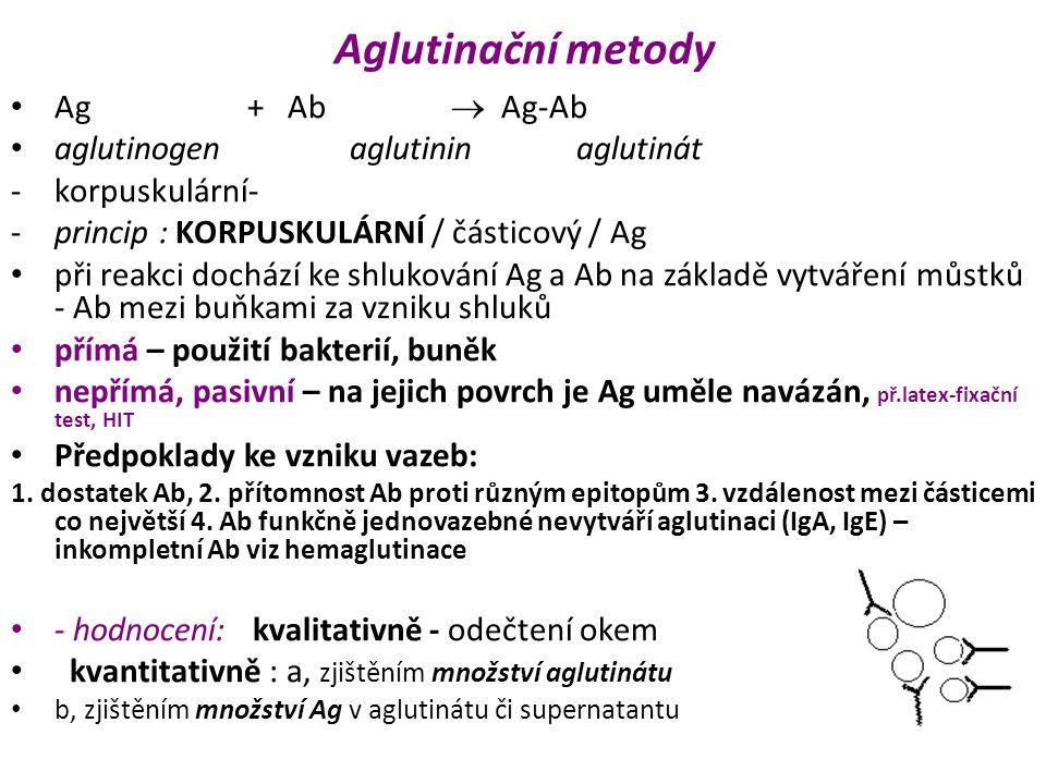 Aglutinační metody Ag + Ab  Ag-Ab aglutinogen aglutinin aglutinát