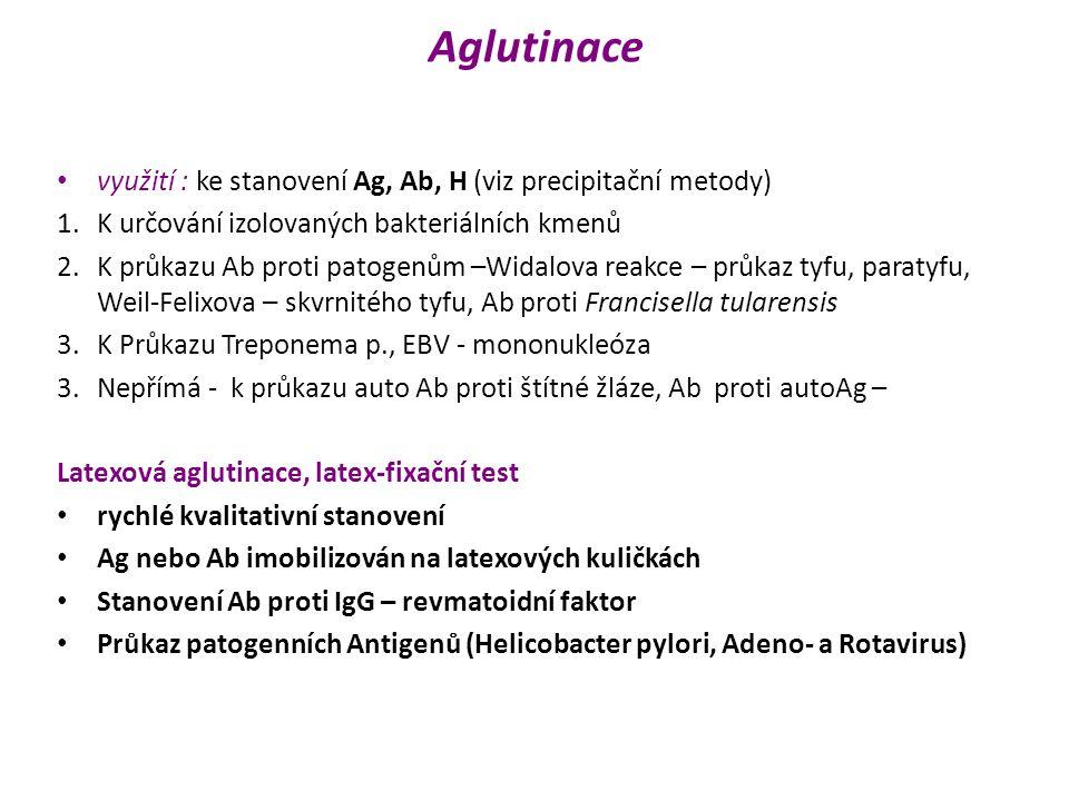 Aglutinace využití : ke stanovení Ag, Ab, H (viz precipitační metody)