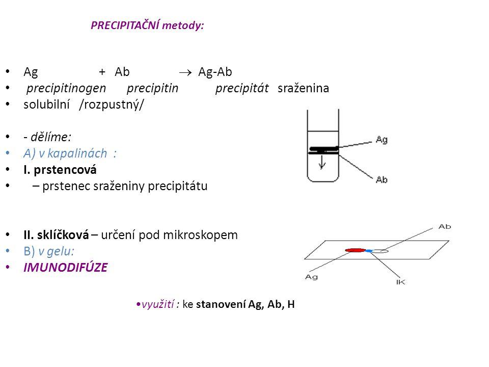 precipitinogen precipitin precipitát sraženina solubilní /rozpustný/