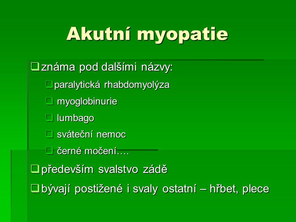 Akutní myopatie známa pod dalšími názvy: především svalstvo zádě