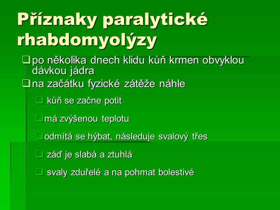 Příznaky paralytické rhabdomyolýzy