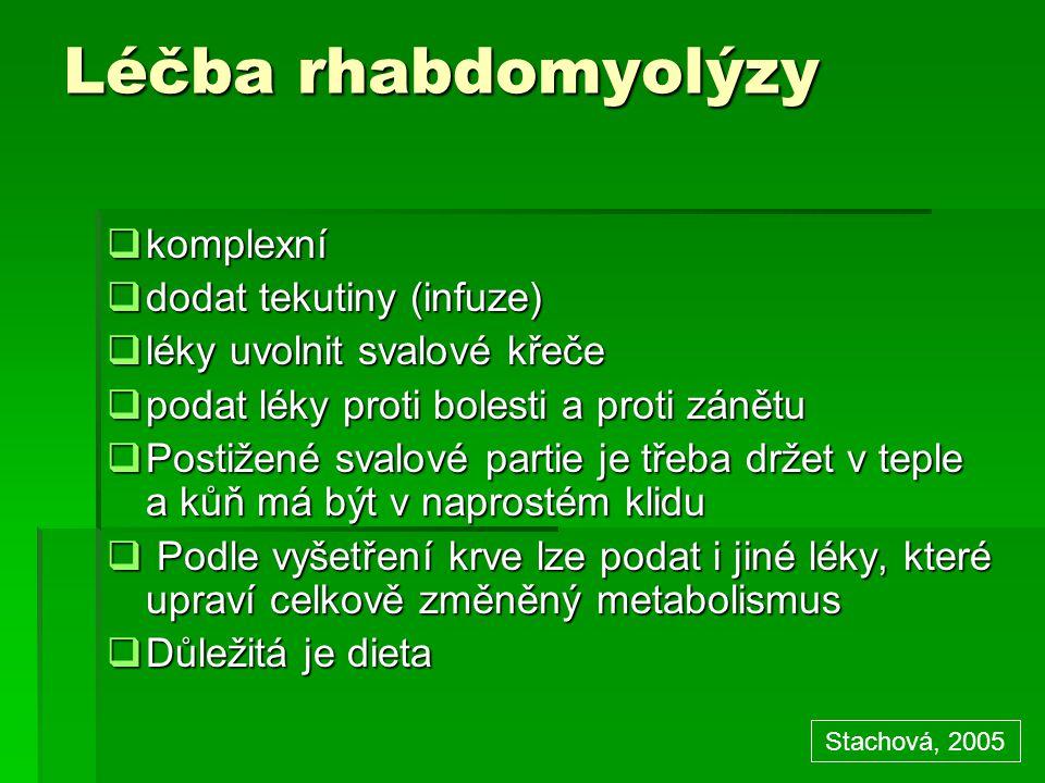 Léčba rhabdomyolýzy komplexní dodat tekutiny (infuze)