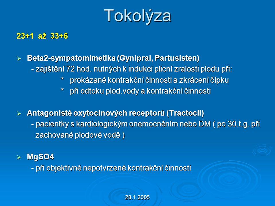 Tokolýza 23+1 až 33+6 Beta2-sympatomimetika (Gynipral, Partusisten)