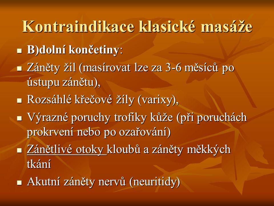 Kontraindikace klasické masáže