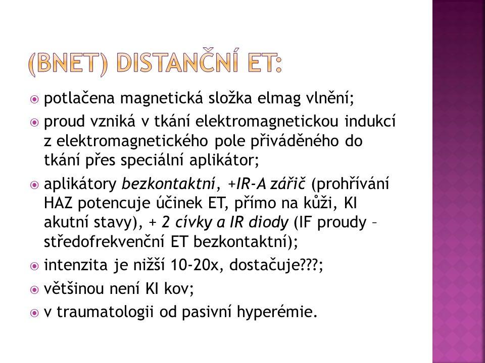 (BNET) Distanční ET: potlačena magnetická složka elmag vlnění;