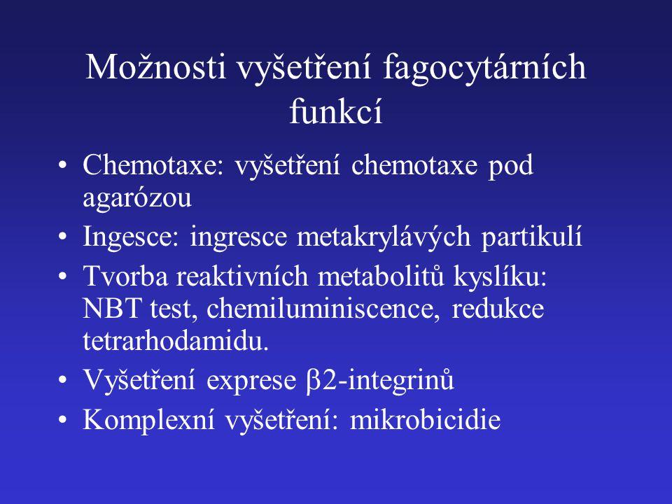 Možnosti vyšetření fagocytárních funkcí