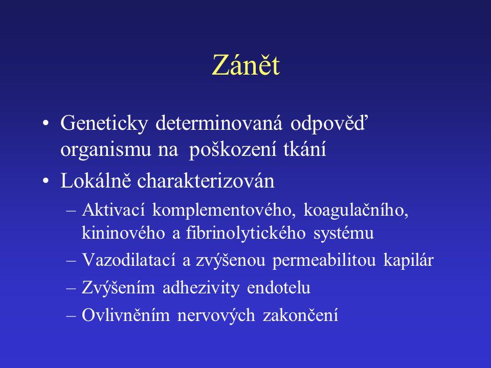 Zánět Geneticky determinovaná odpověď organismu na poškození tkání