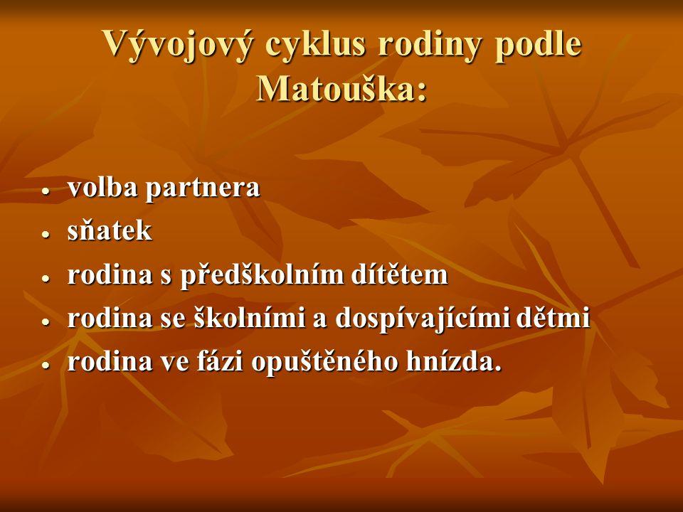 Vývojový cyklus rodiny podle Matouška: