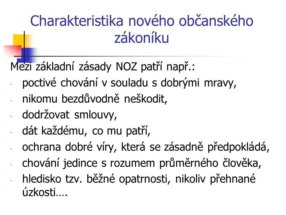 Charakteristika nového občanského zákoníku
