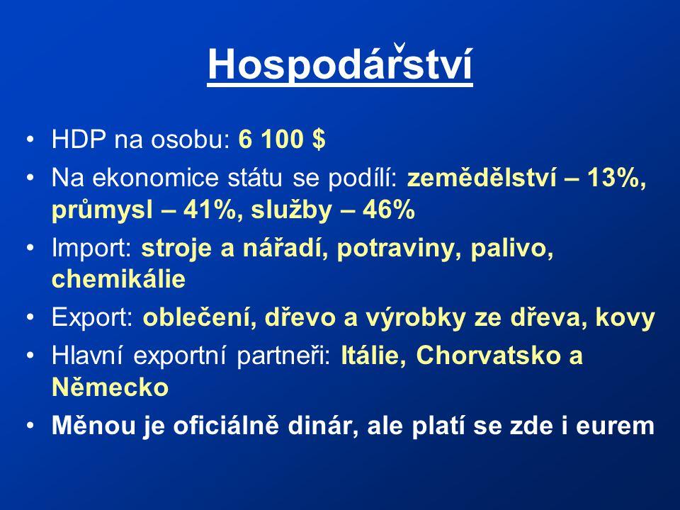 Hospodárství HDP na osobu: 6 100 $