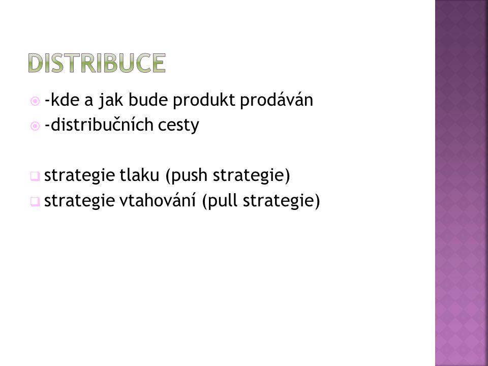 distribuce -kde a jak bude produkt prodáván -distribučních cesty