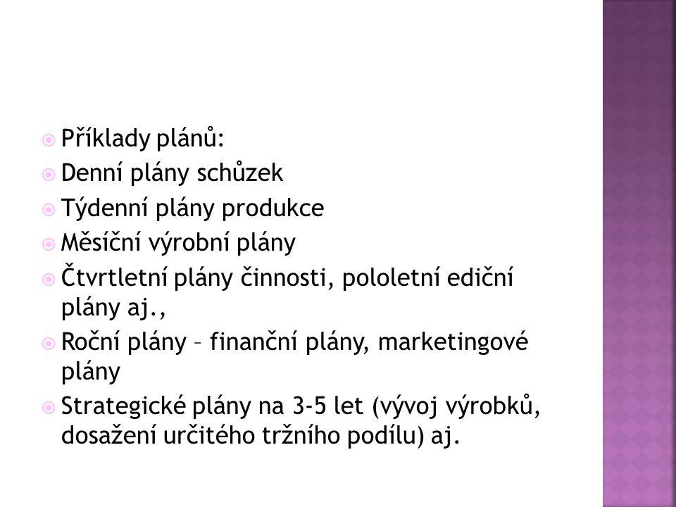 Příklady plánů: Denní plány schůzek. Týdenní plány produkce. Měsíční výrobní plány. Čtvrtletní plány činnosti, pololetní ediční plány aj.,