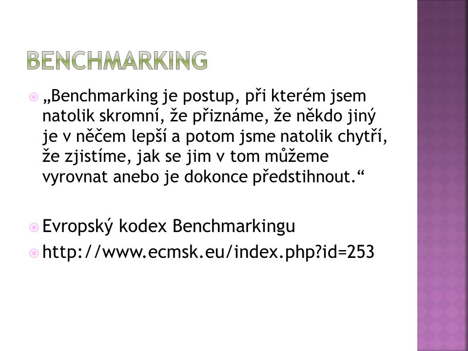 benchmarking Evropský kodex Benchmarkingu