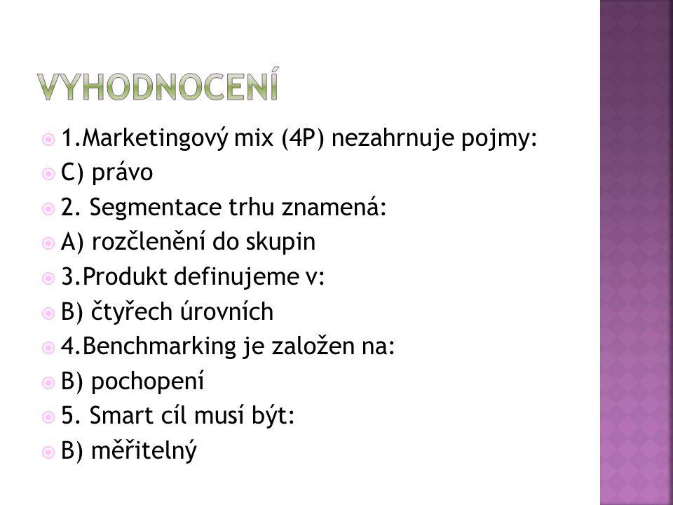 vyhodnocení 1.Marketingový mix (4P) nezahrnuje pojmy: C) právo