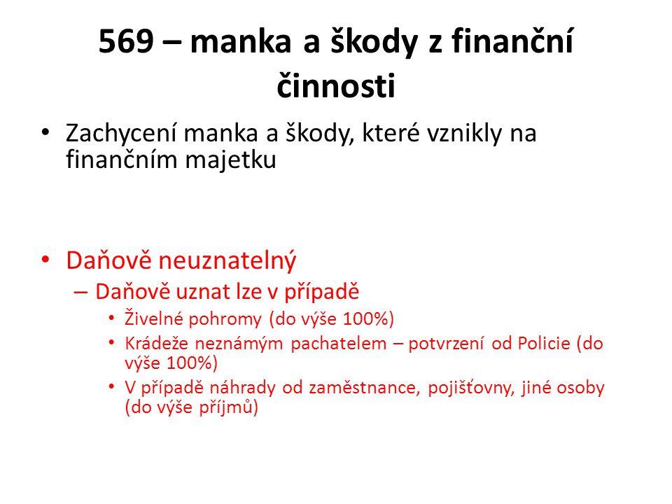 569 – manka a škody z finanční činnosti