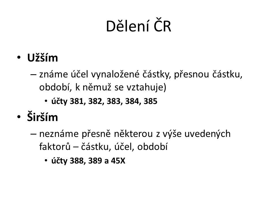 Dělení ČR Užším. známe účel vynaložené částky, přesnou částku, období, k němuž se vztahuje) účty 381, 382, 383, 384, 385.