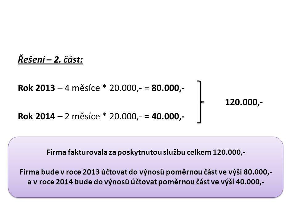 Řešení – 2. část: Rok 2013 – 4 měsíce. 20. 000,- = 80. 000,- 120