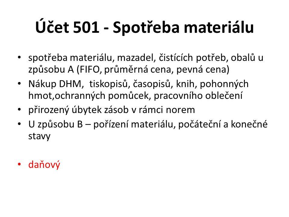 Účet 501 - Spotřeba materiálu
